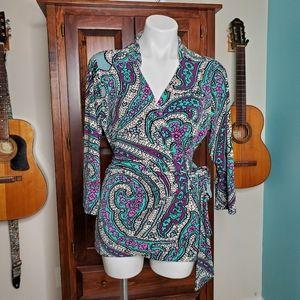 Ann Taylor Floral Print Collared Wrap Shirt Size L